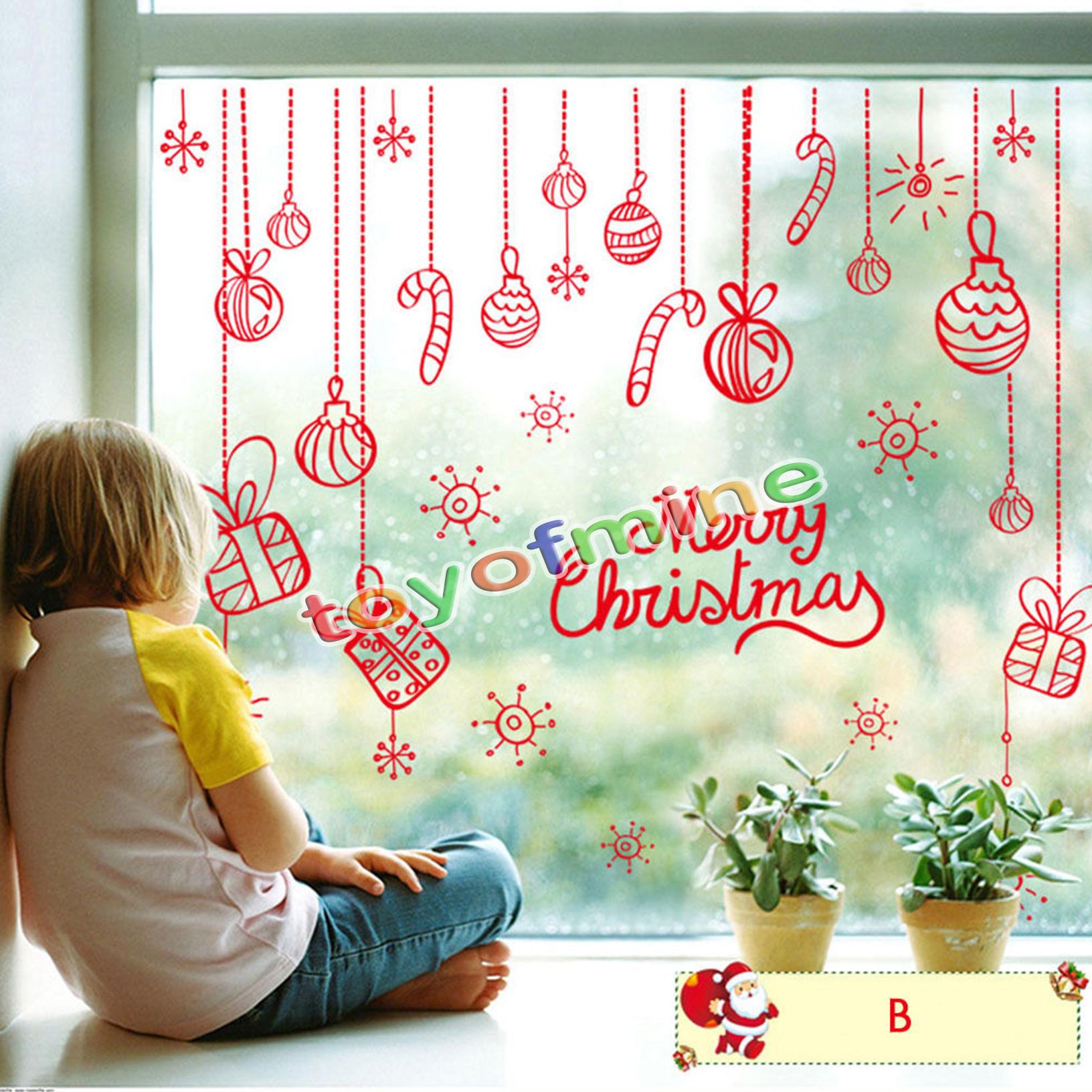 Christmas sleigh wall decoration : Christmas santa sleigh reindeer snowflake wall decals