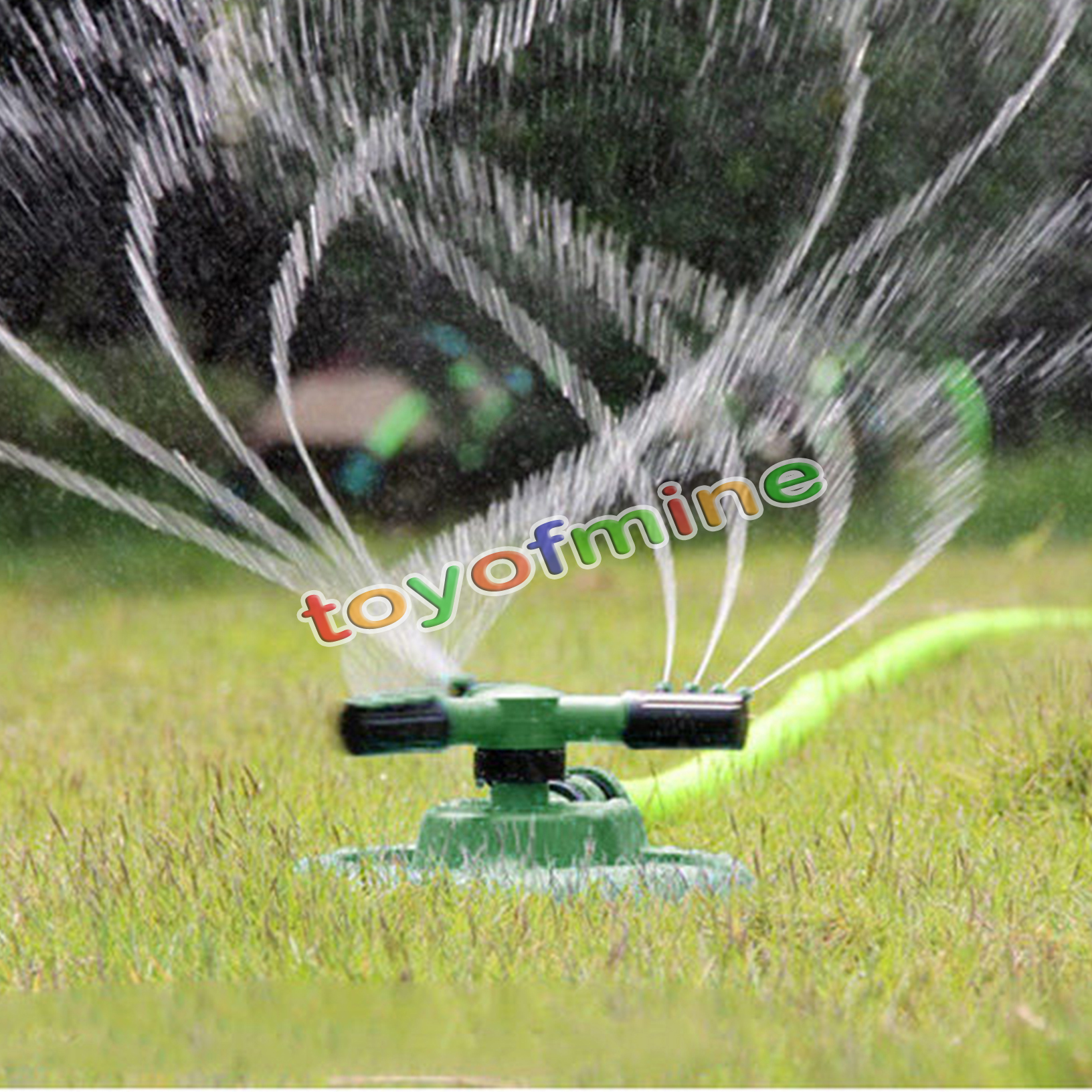 360 Lawn Circle Rotating Water Sprinkler 3 Nozzle Garden Pipe Hose Irrigation Ebay