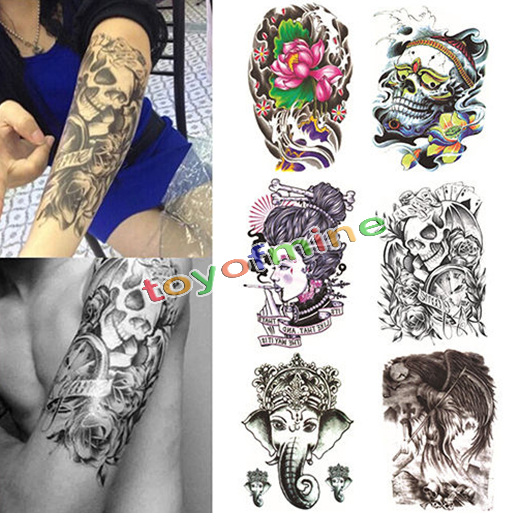 Large skull temporary tattoo arm body art removable for Temporary arm tattoos