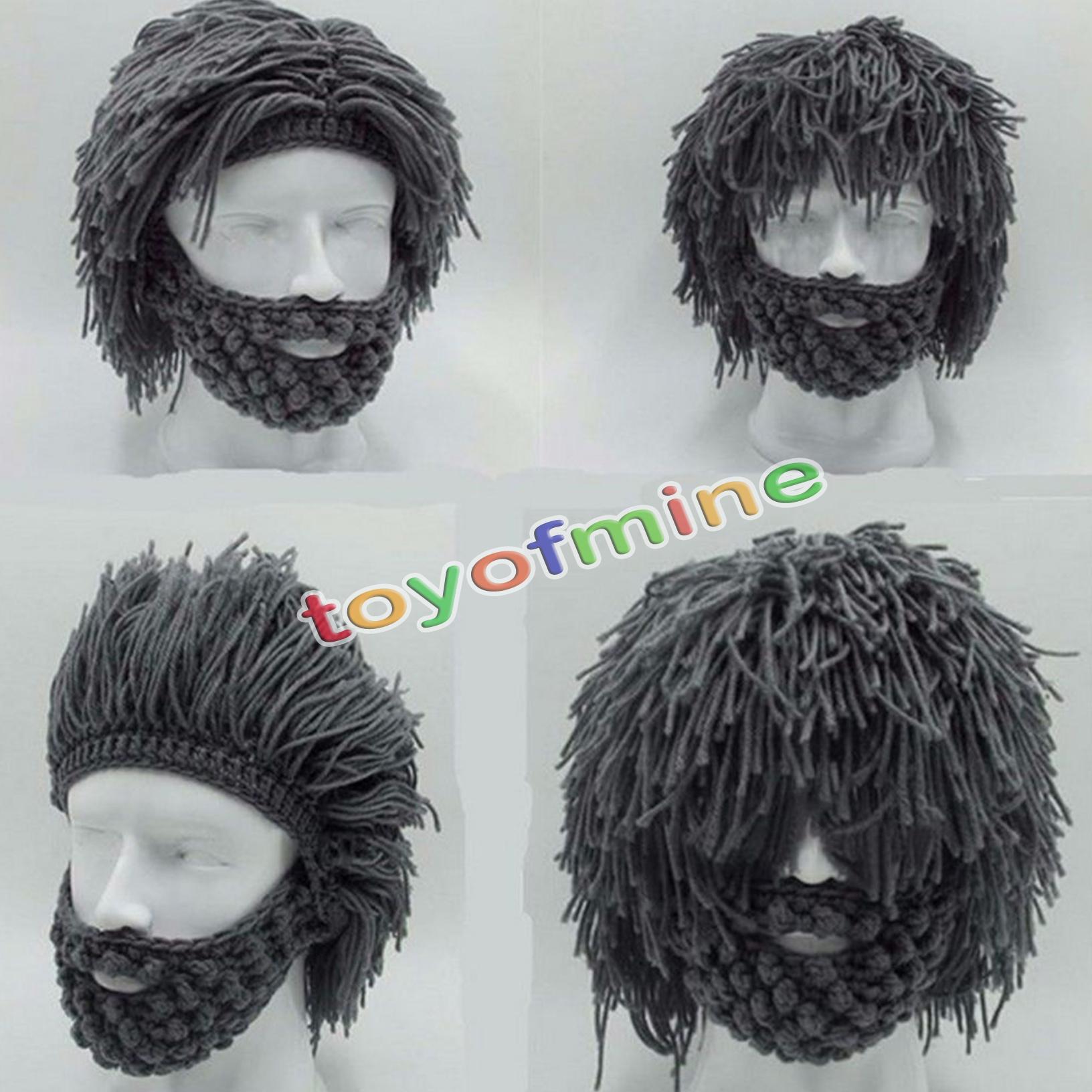 Knitting Pattern Beard Beanie : Grey Warm Beard Hat Barbarian Looter Crochet Beanie Cap ...