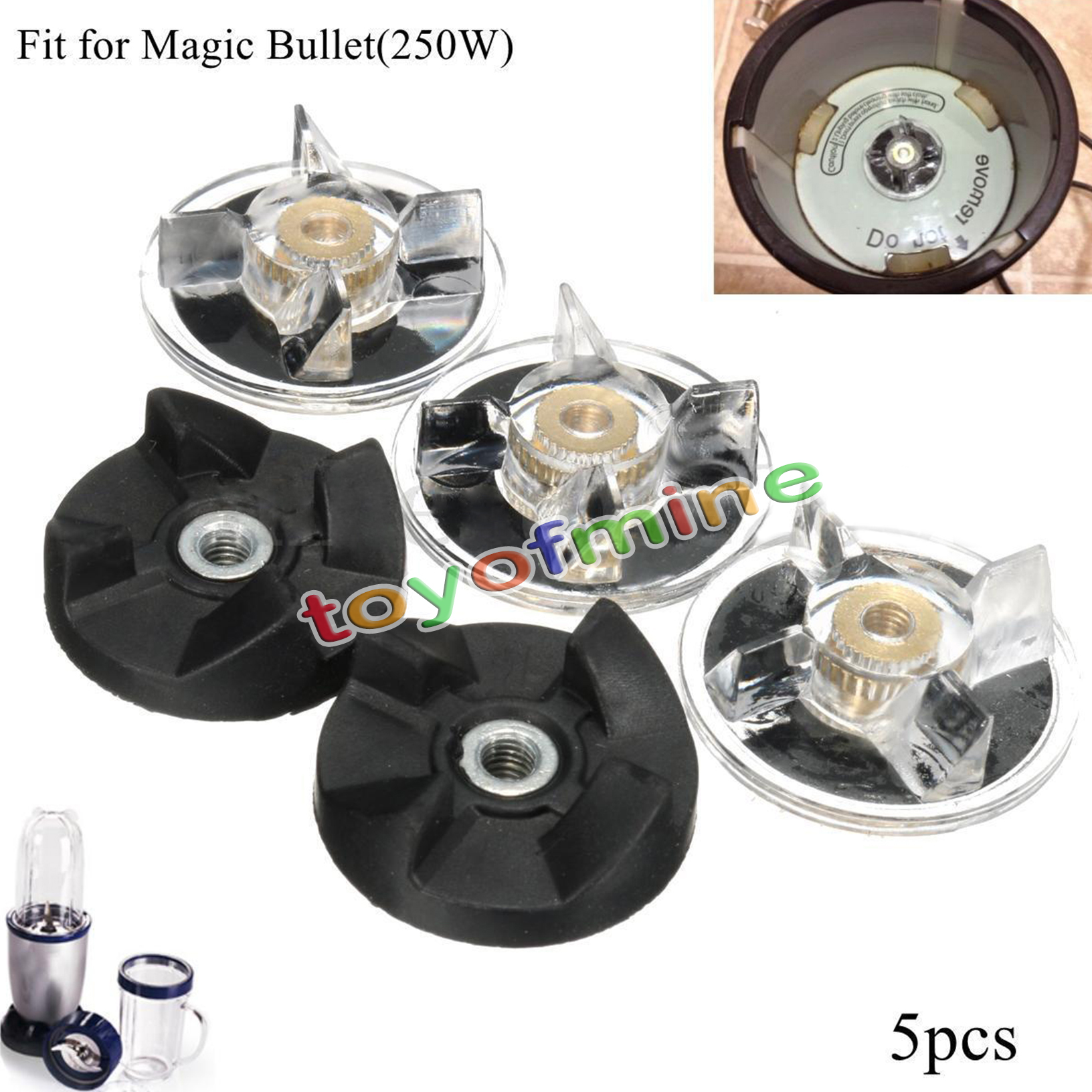 3 Plastic Gear Base & 2 Rubber Replacement For Magic
