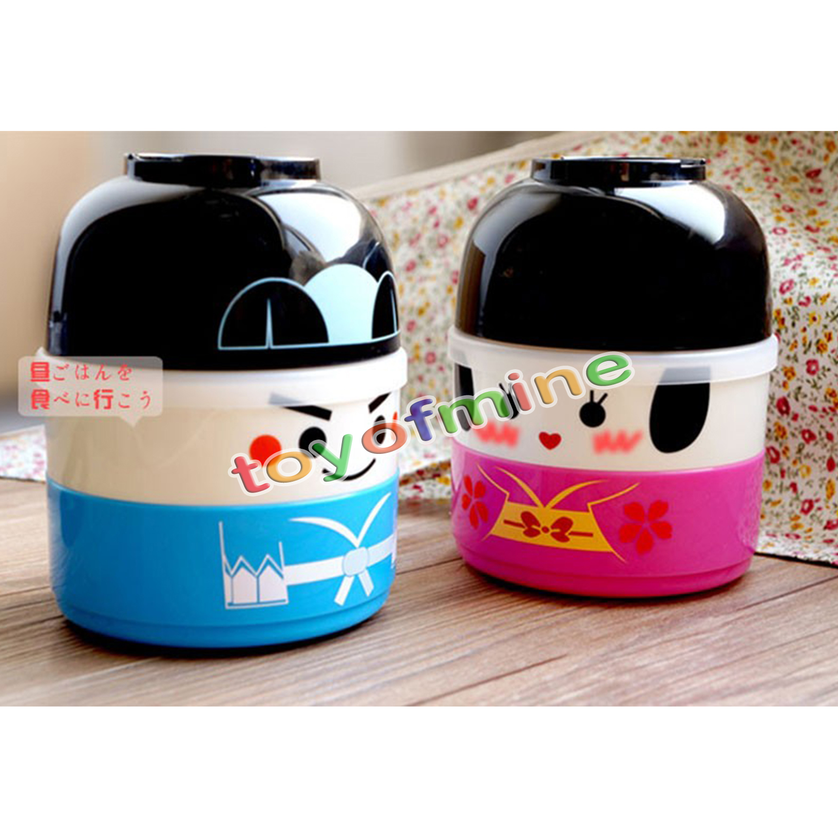 cute japanese cartoon doll double layer couple lunch box bento food container. Black Bedroom Furniture Sets. Home Design Ideas