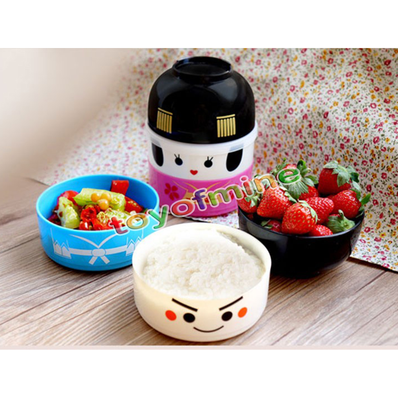 japanese hakoya geisha doll bento lunch box plastic food container bowl boy girl ebay. Black Bedroom Furniture Sets. Home Design Ideas