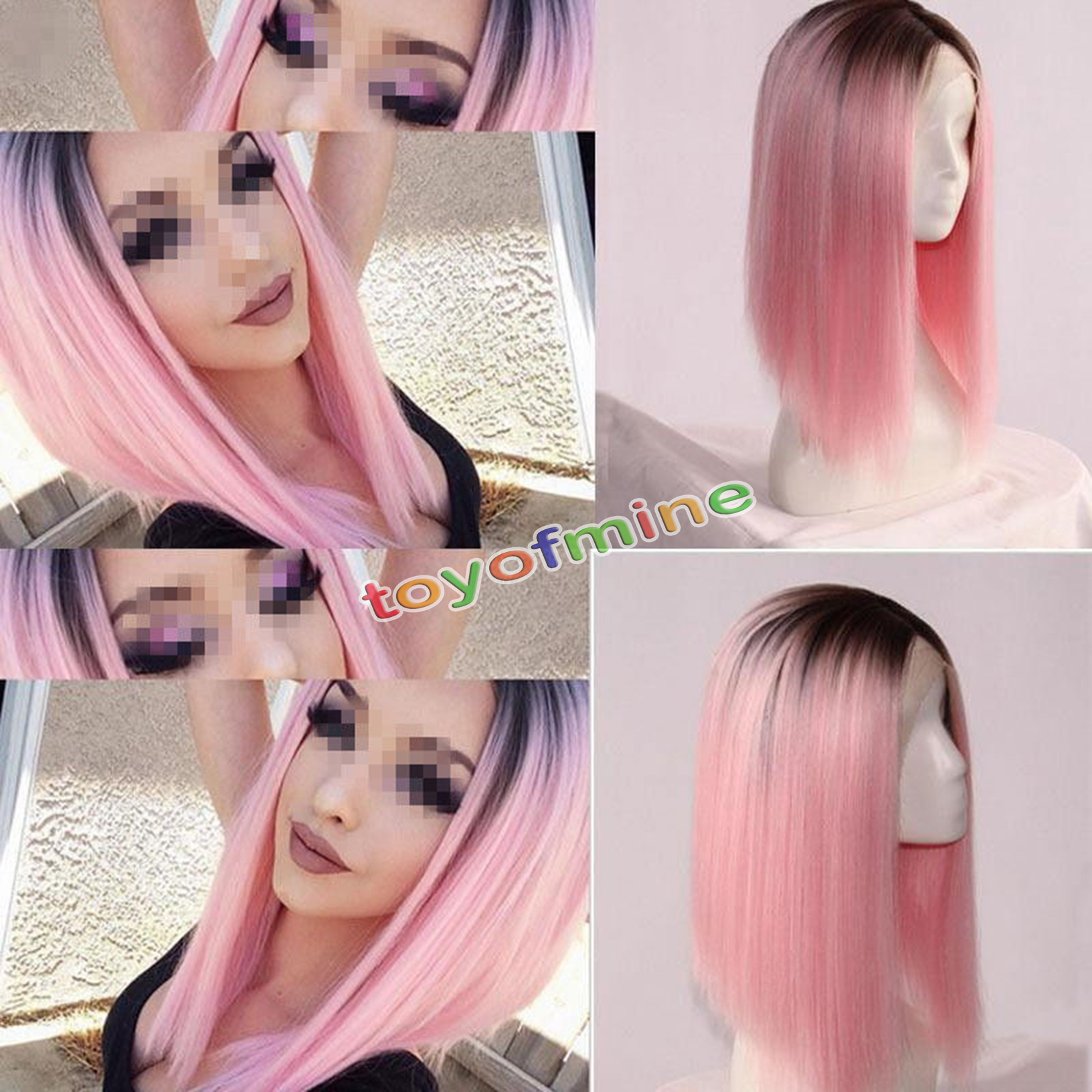 Heat Resistant Synthetic Lace Front Ombre Wigs Long ...