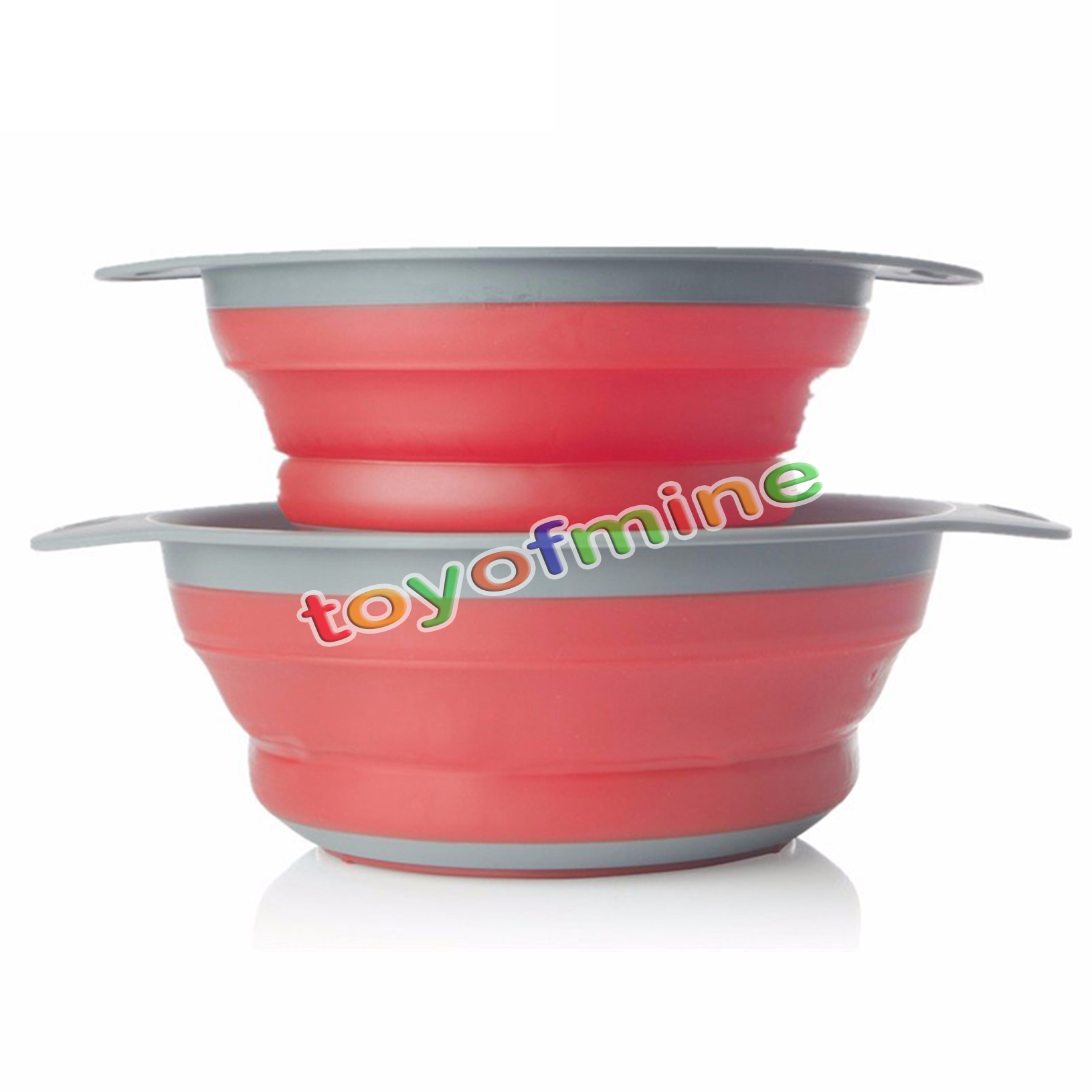 2 Pieces Collapsible Silicone Colander Folding Kitchen
