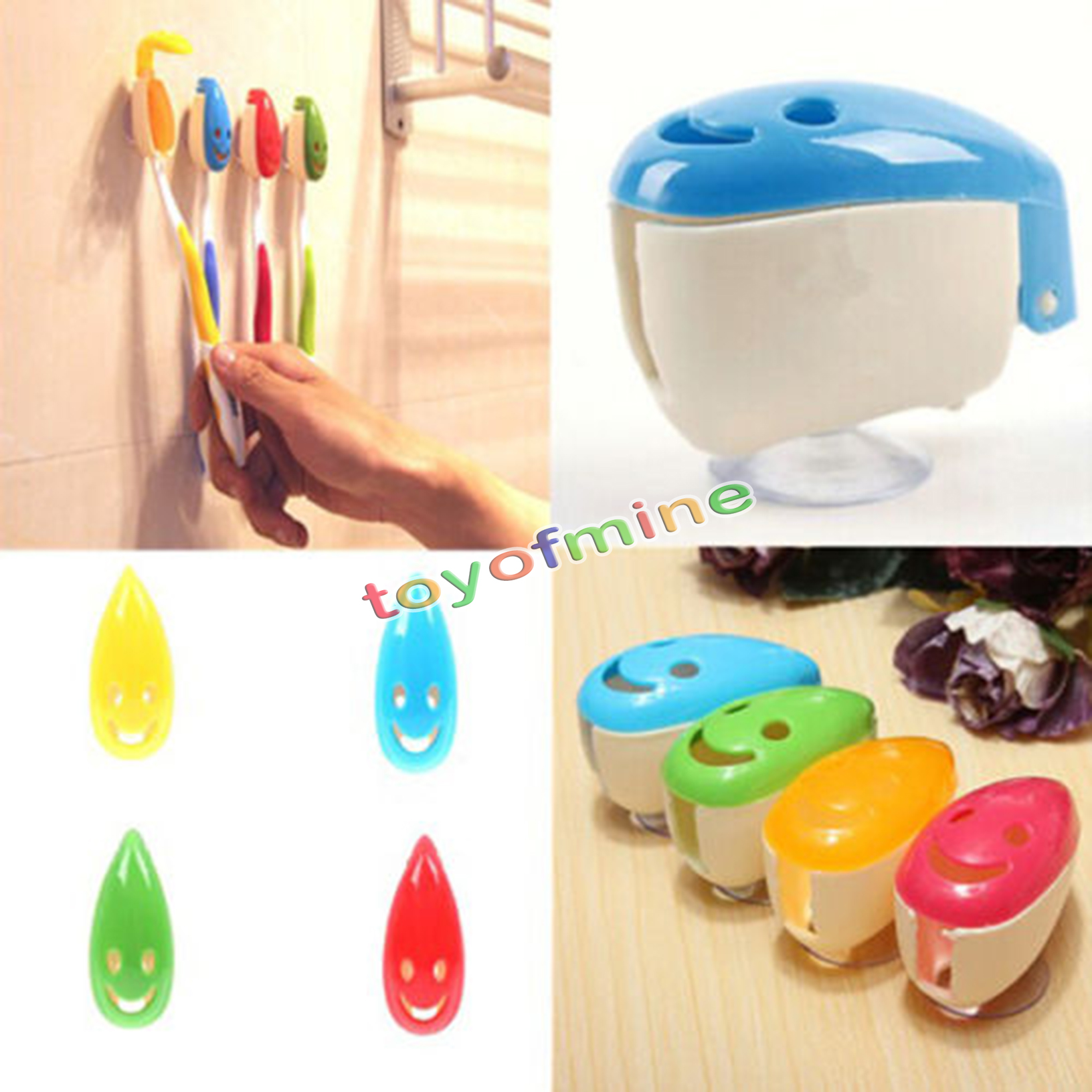 4x portable home bathroom smile face toothbrush holder cover case suction cup ebay. Black Bedroom Furniture Sets. Home Design Ideas