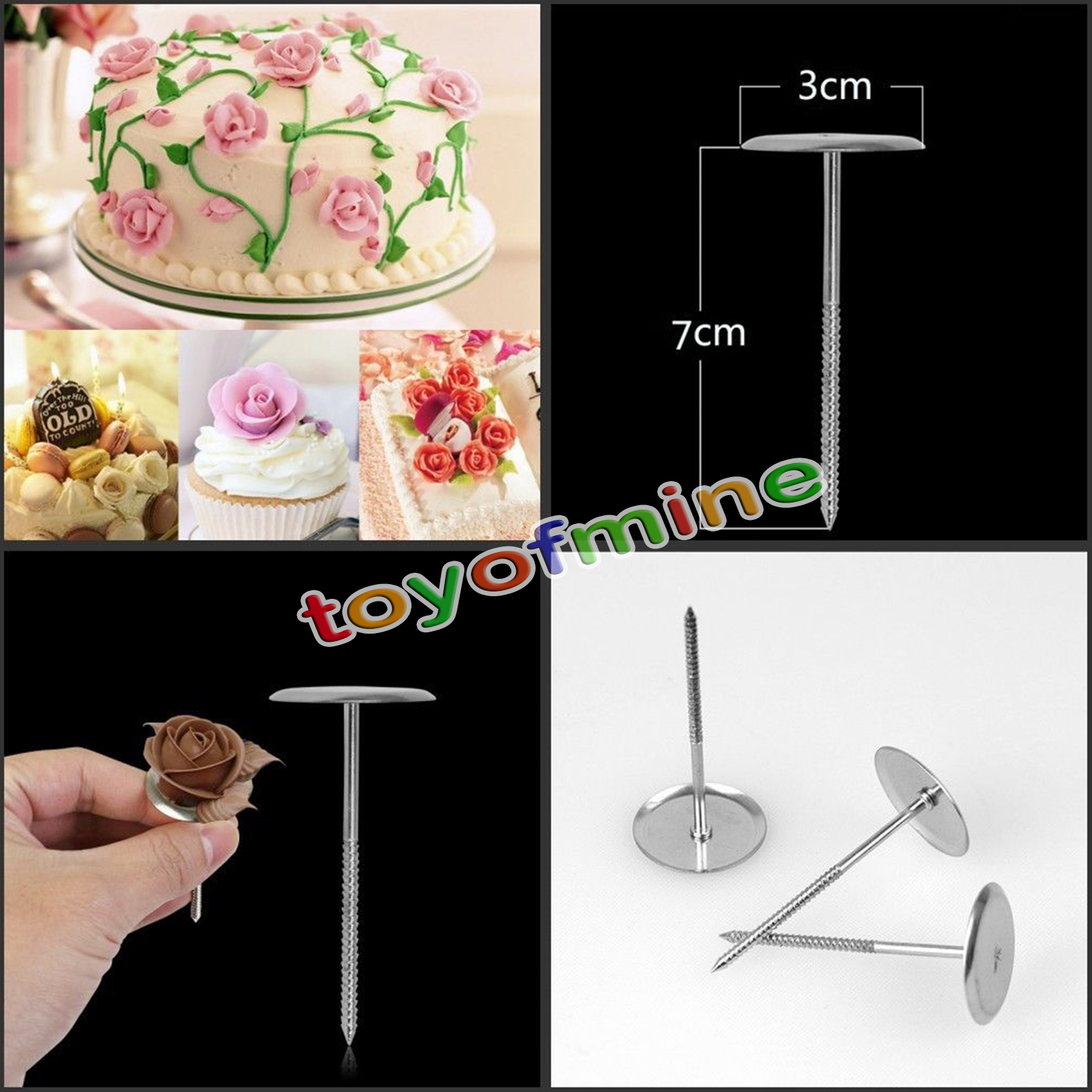 Flower Nail Cake: 5pc Piping Flower Nail Icing Cream Bake Cake Decorating