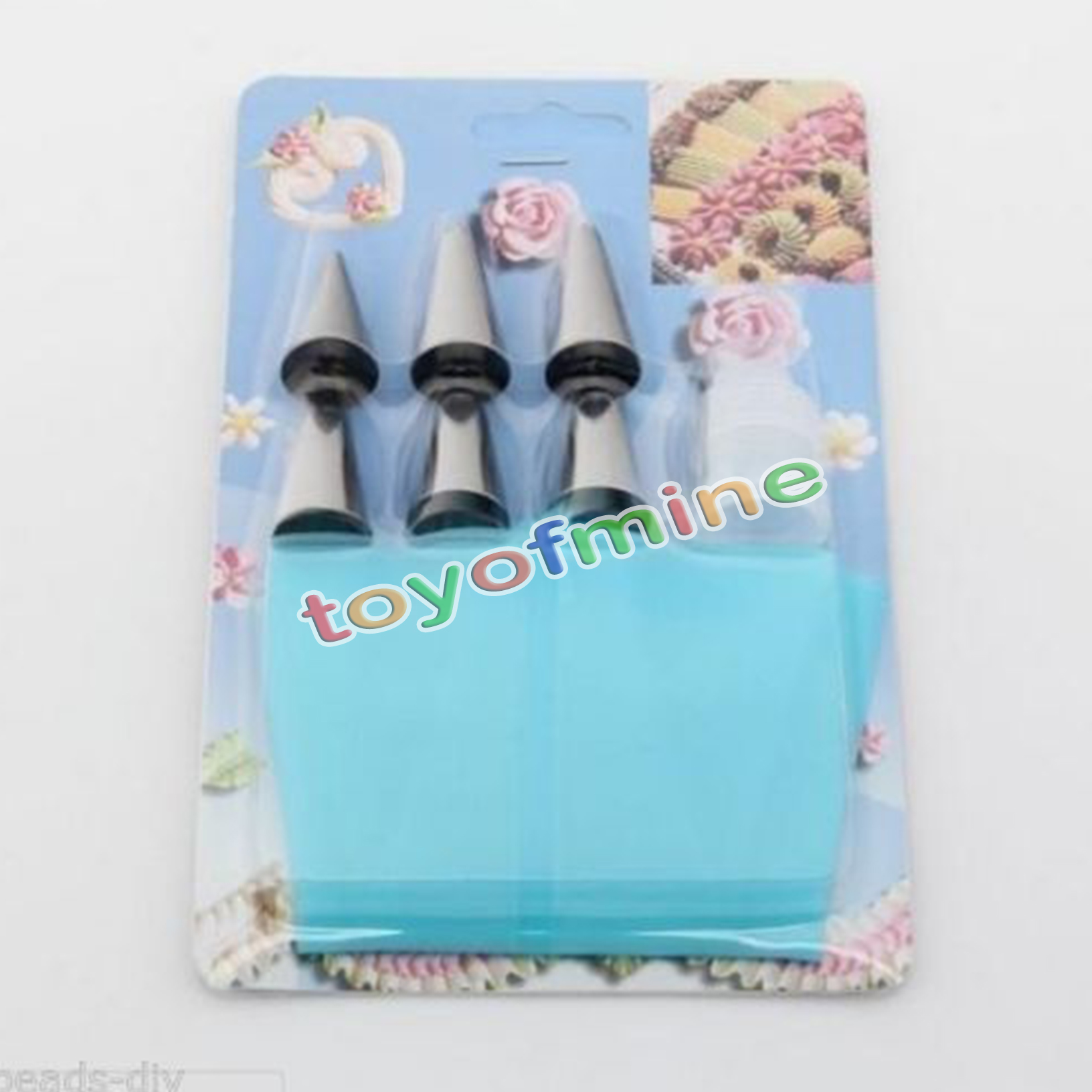 New Silicone Icing Piping Cream Pastry Bag + 6x Nozzle Set ...
