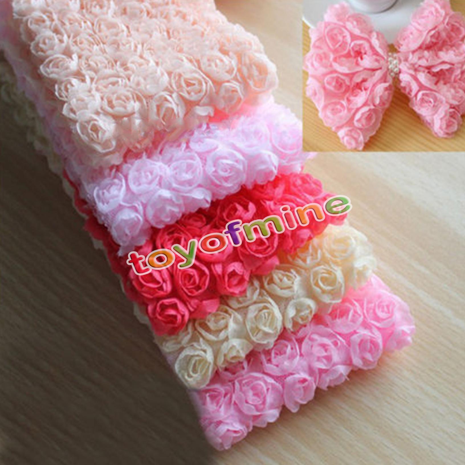 Fabric Flower Trim: 1 Yard 6 Row 3D Chiffon Rose Flower Lace Trim Gift Sewing