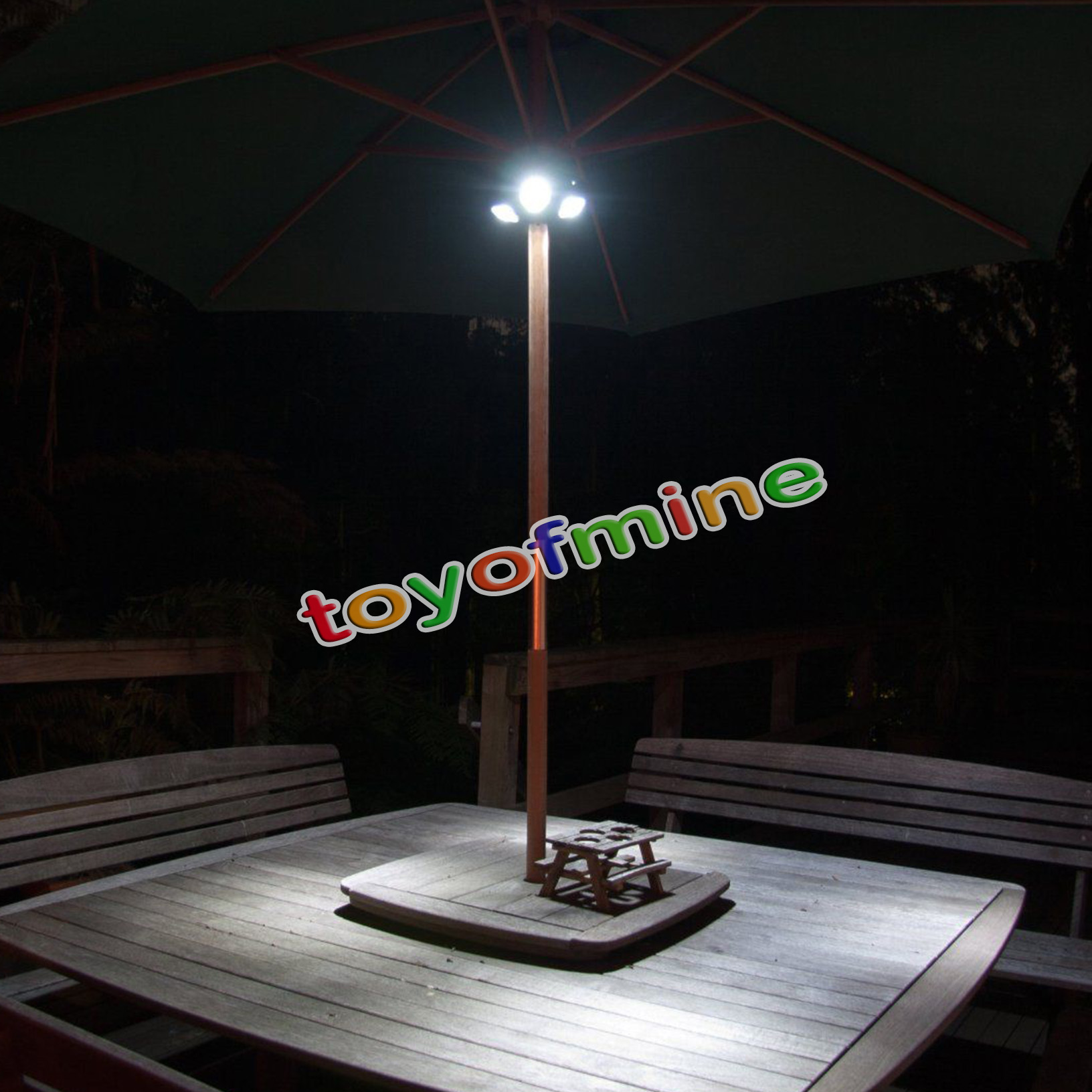 24 LED Parasol Lights Gardening Umbrella Torch At 72 Lumens Adjustable Patio