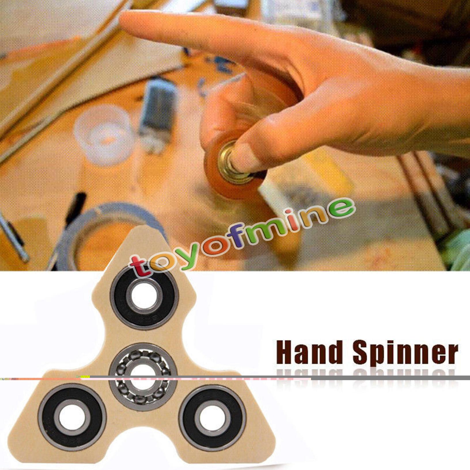 wooden tri spinner fidget spielzeug bar schreibtisch fokus edc finger spielzeug ebay. Black Bedroom Furniture Sets. Home Design Ideas
