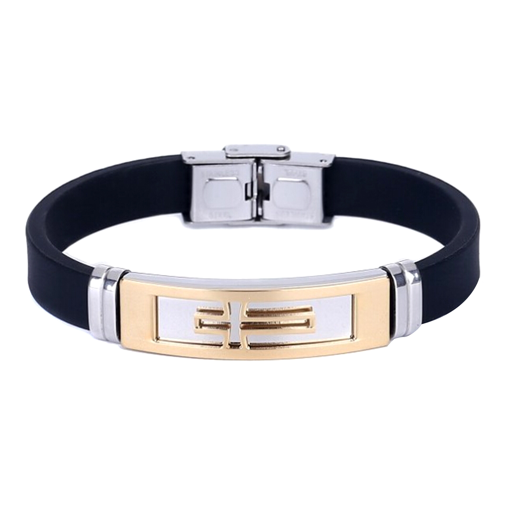 herren schmuck armband silikon manschetten armband kreuz edelstahl armband ebay. Black Bedroom Furniture Sets. Home Design Ideas