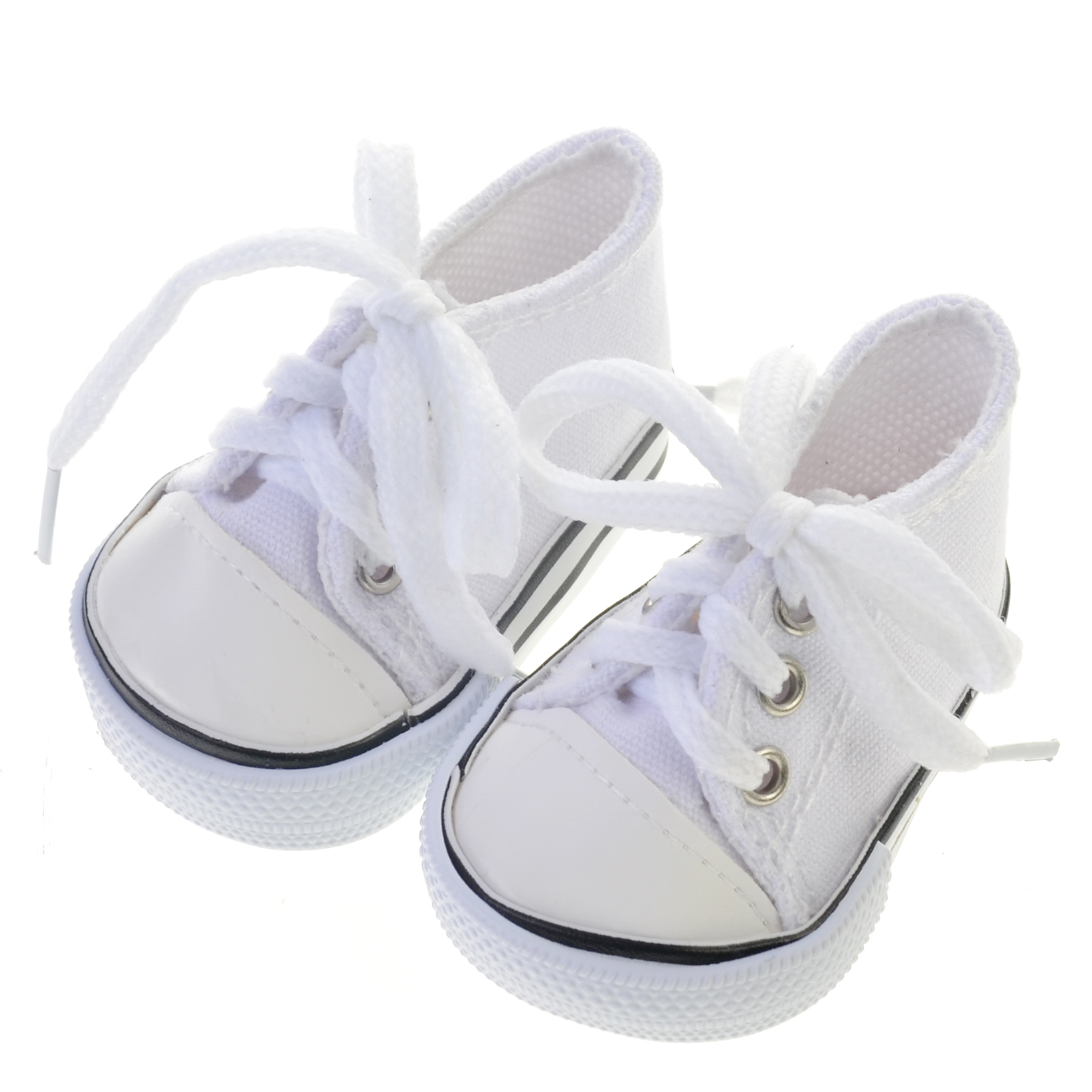 a2f4e5677f584 Details about White Doll Sneakers fit American Girl Dolls, 18 Inch Doll  White Shoes in Canvas