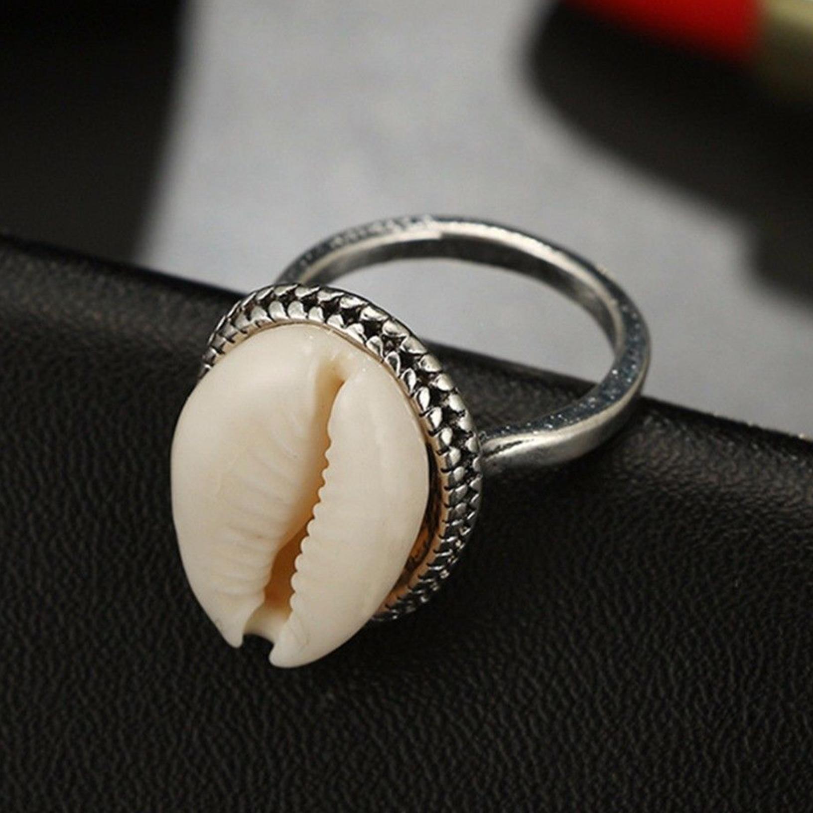 Boho Nature KAURI SHELL RING fait main bande argent anneaux bijoux cadeau