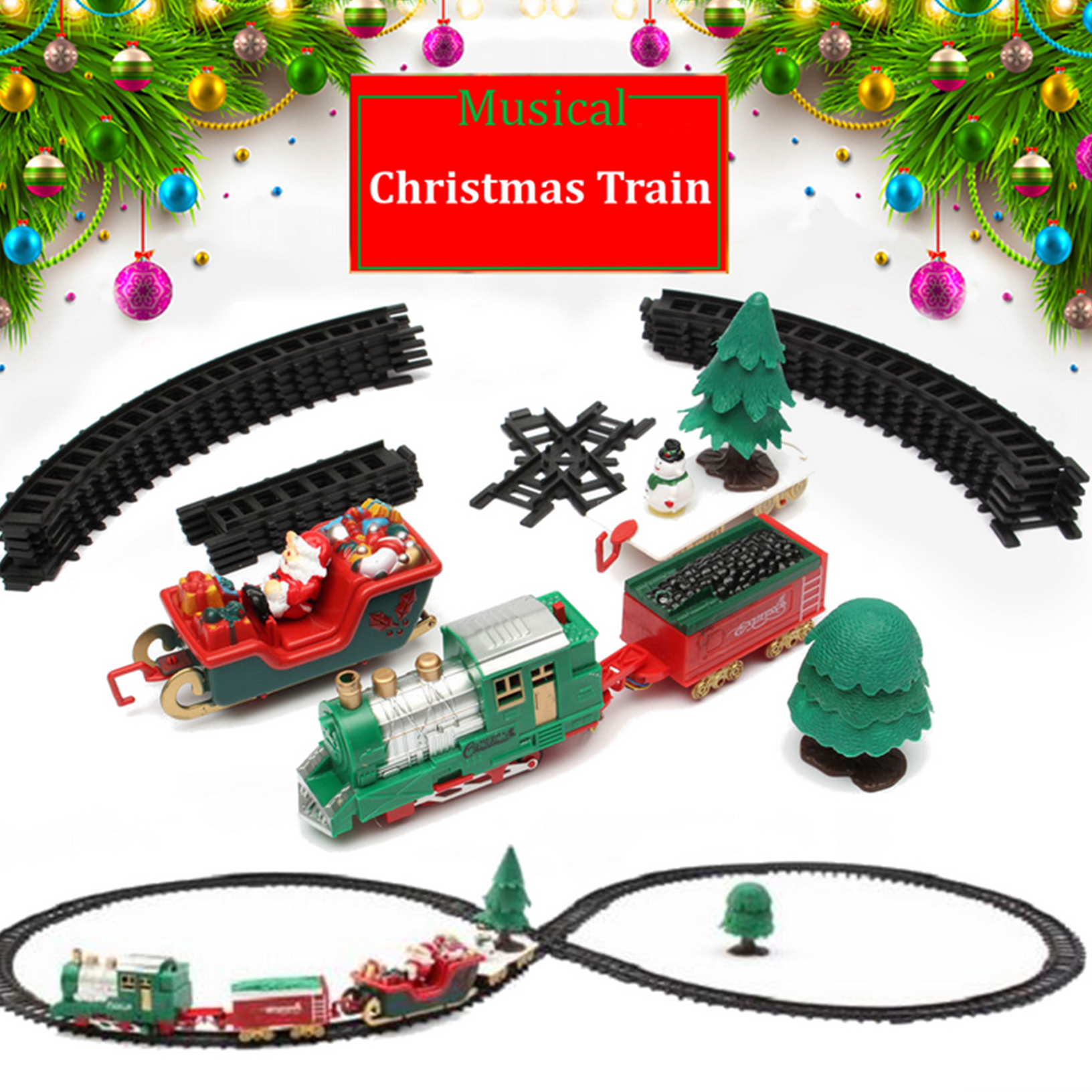 Details about Traditional Around the Christmas Tree Train Set Decoration Music Sound & Lights