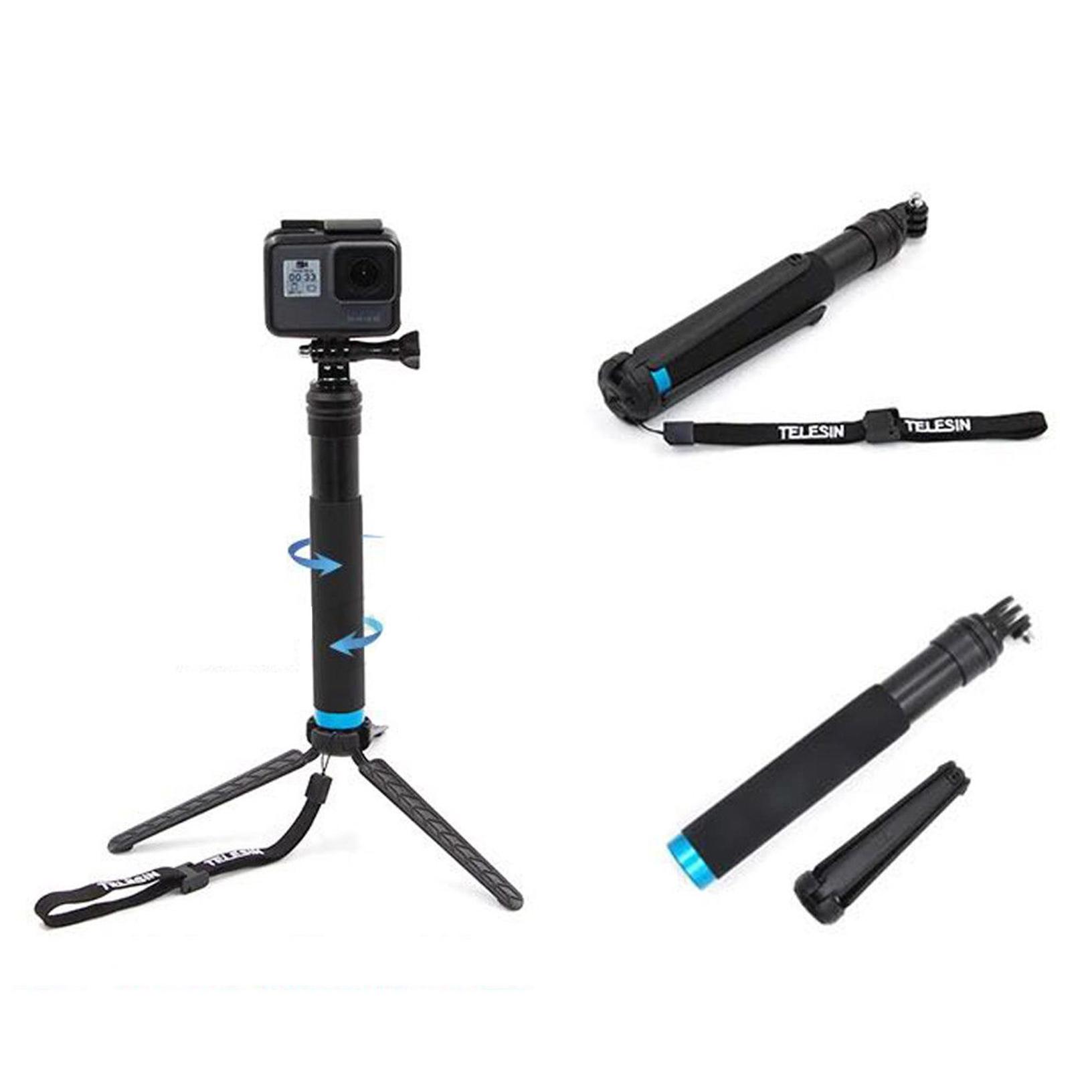 Waterproof  Tripod Selfie Stick Pole Handheld For Gopro Hero 12343 blue //KT