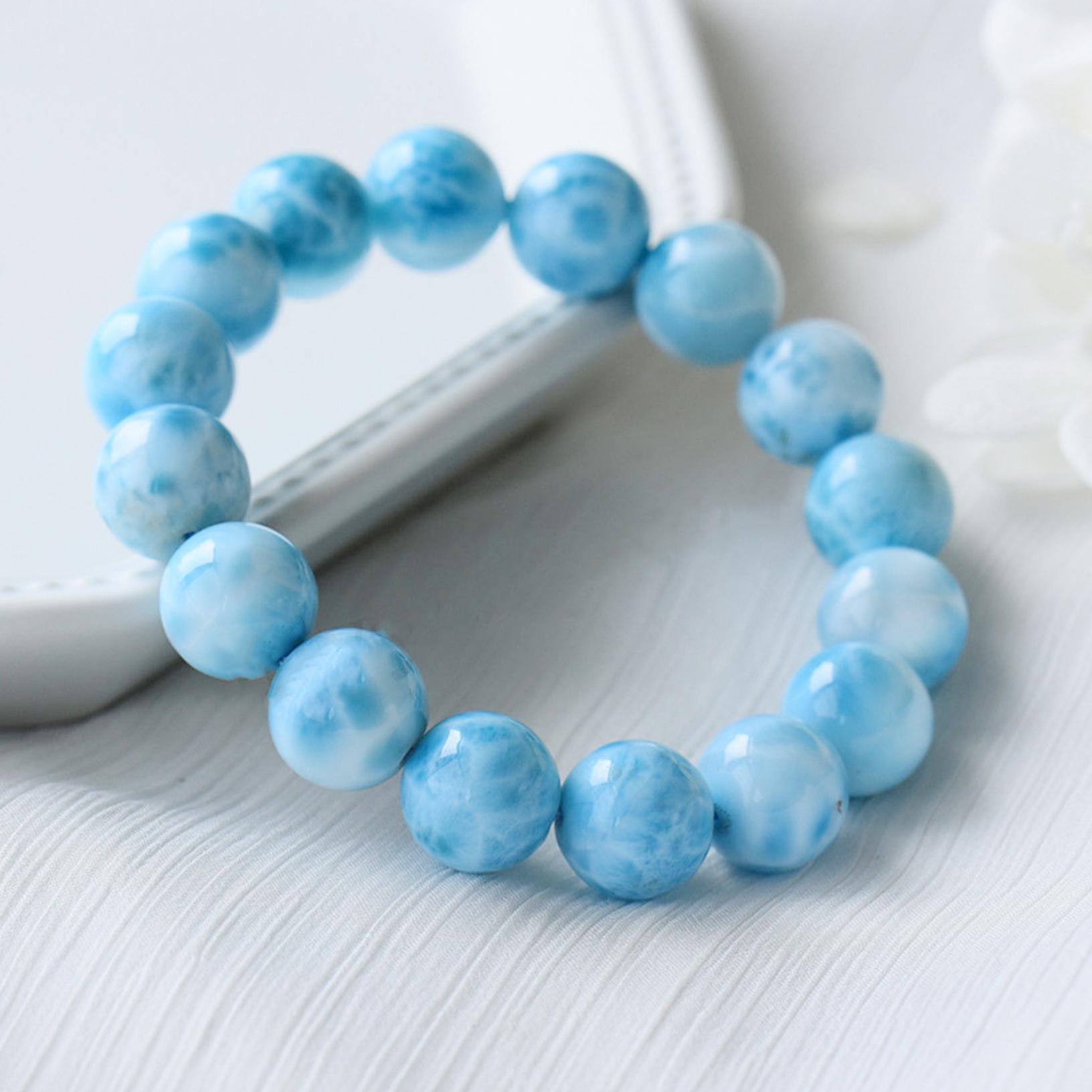10mm Natural Blue Larimar Edelstein Runde Perlen Wasser Muster Armband Geschenke