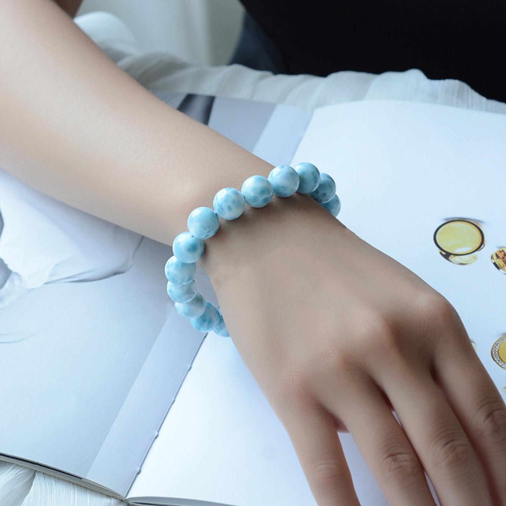 "6.3 /""cuentas azules redondas naturales agua patrón regalo pulsera"