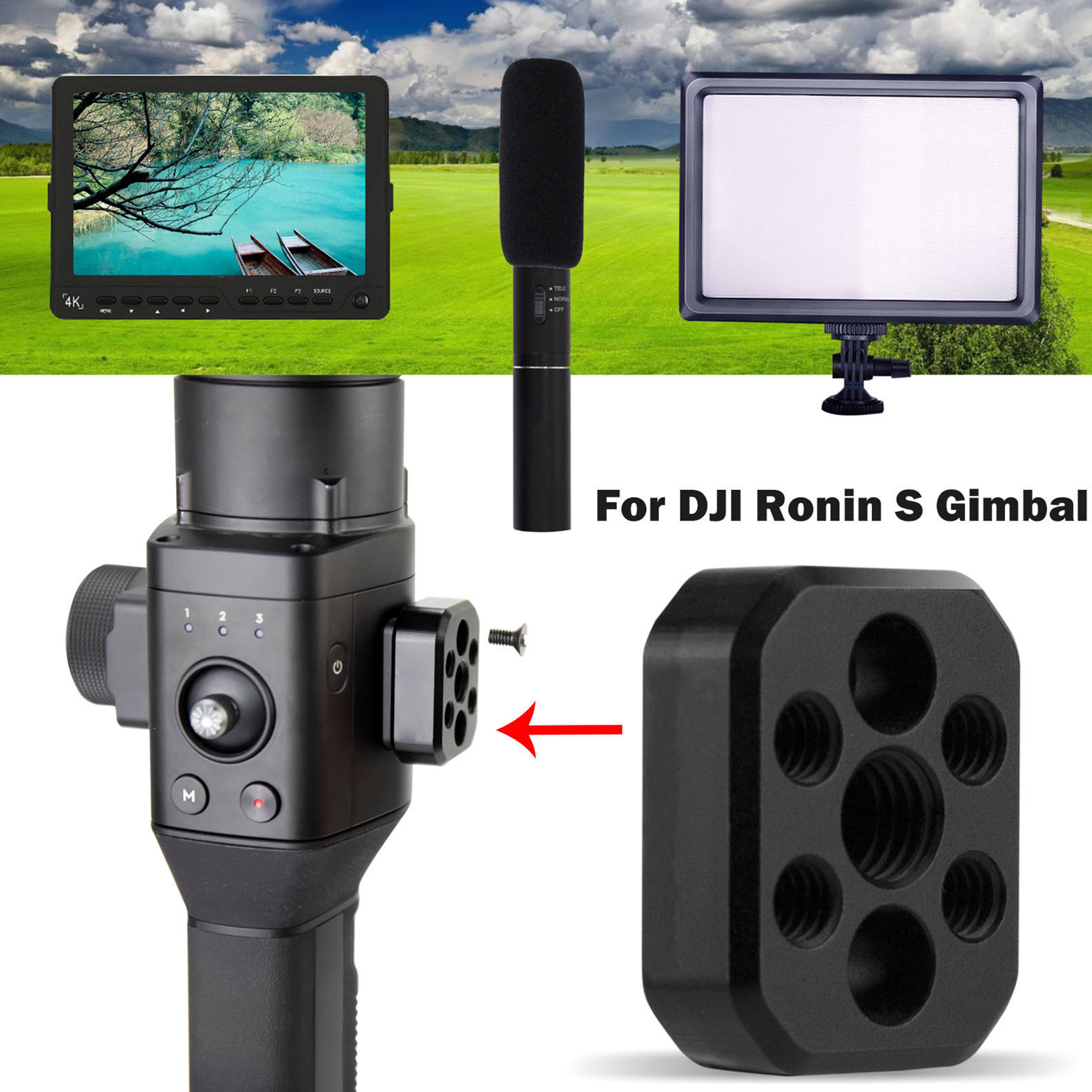 """Extension Plate 1//4'' 3//8/"""" Microphone Light Mount For DJI Ronin S Handheld"""
