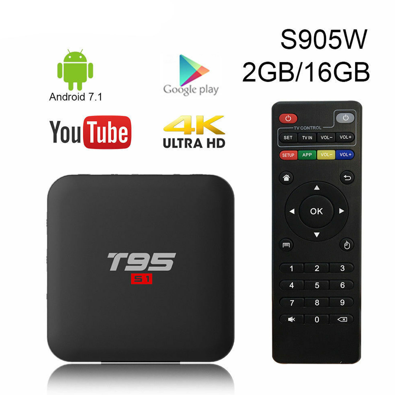 Details about T95 S1 2Gb RAM 16Gb ROM 4K Android 7 1 2 Nougat Smart TV Box  18 3 Wonderbox