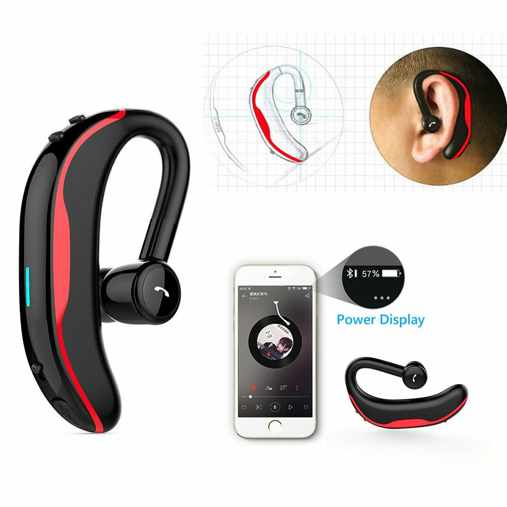 Wireless Headset Bluetooth Hands Free Calling With Clear Voice Earbuds Ebay
