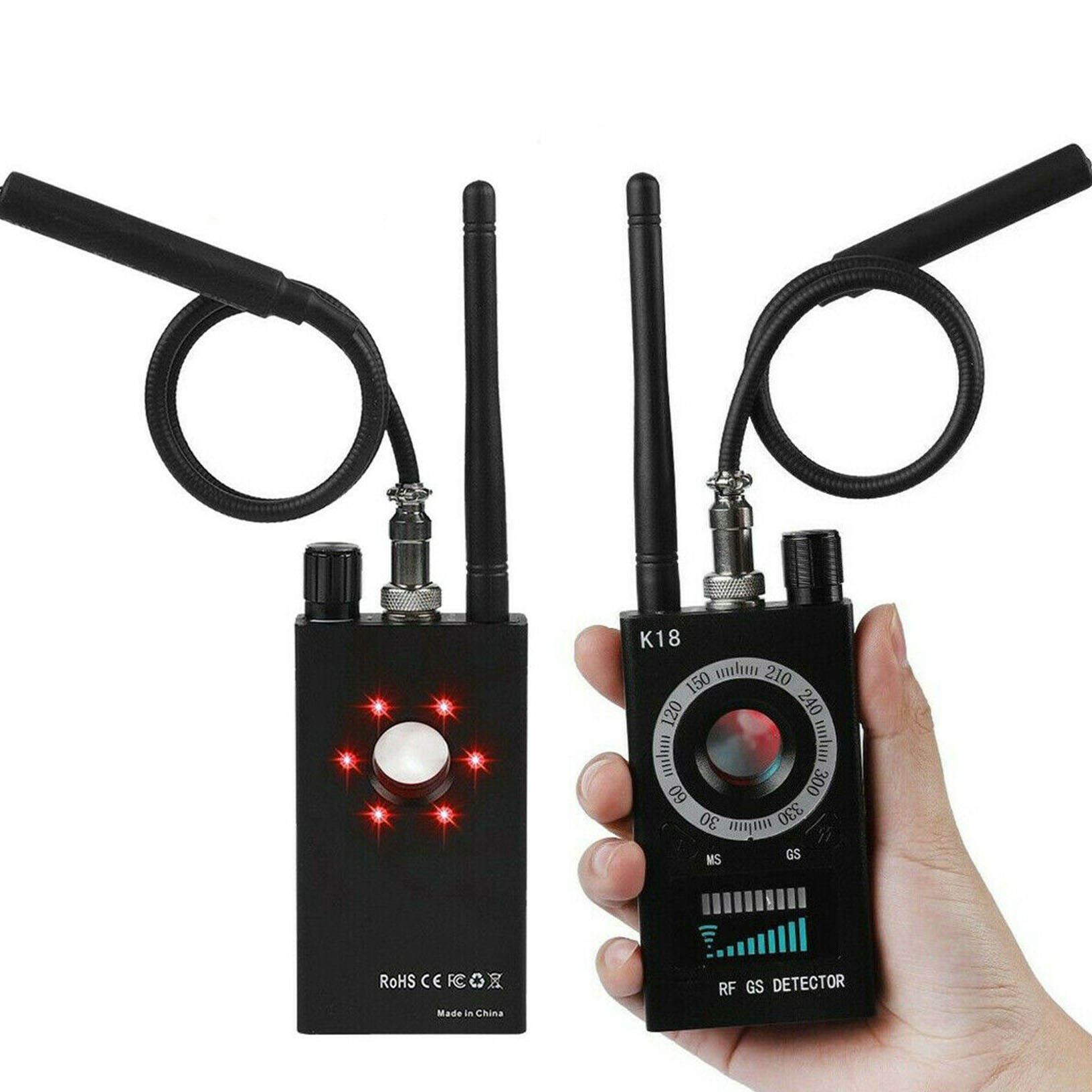 Details about K18 RF Signal detector Bug Anti-spy Detector Camera GSM Audio  Finder GPS Scan