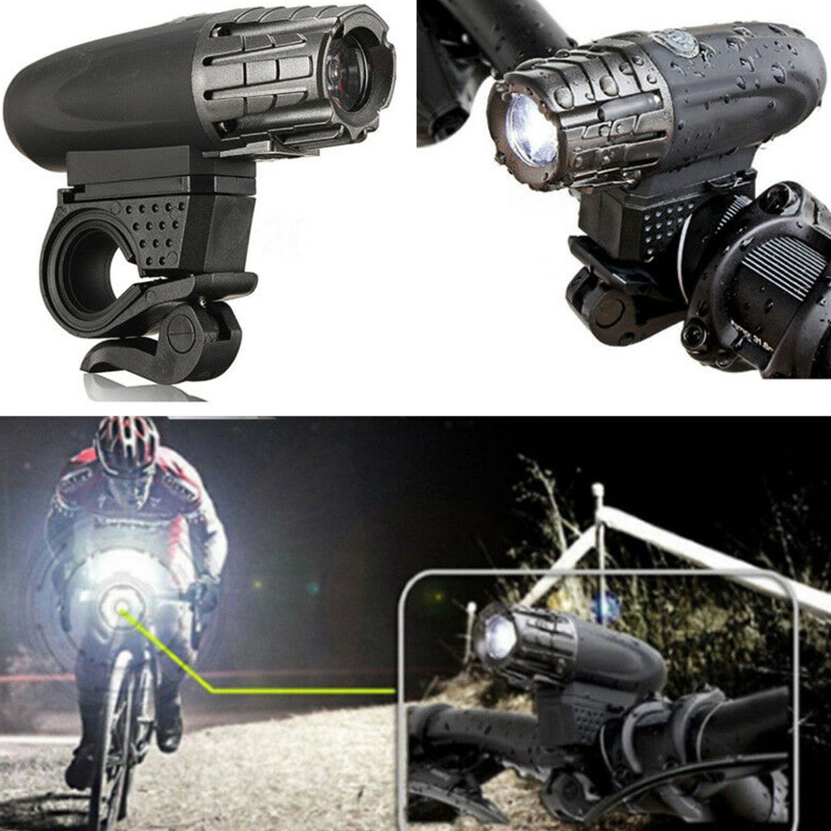 USB Rechargeable LED Bicycle Bright Bike Front Light Headlight Lamp Waterproof