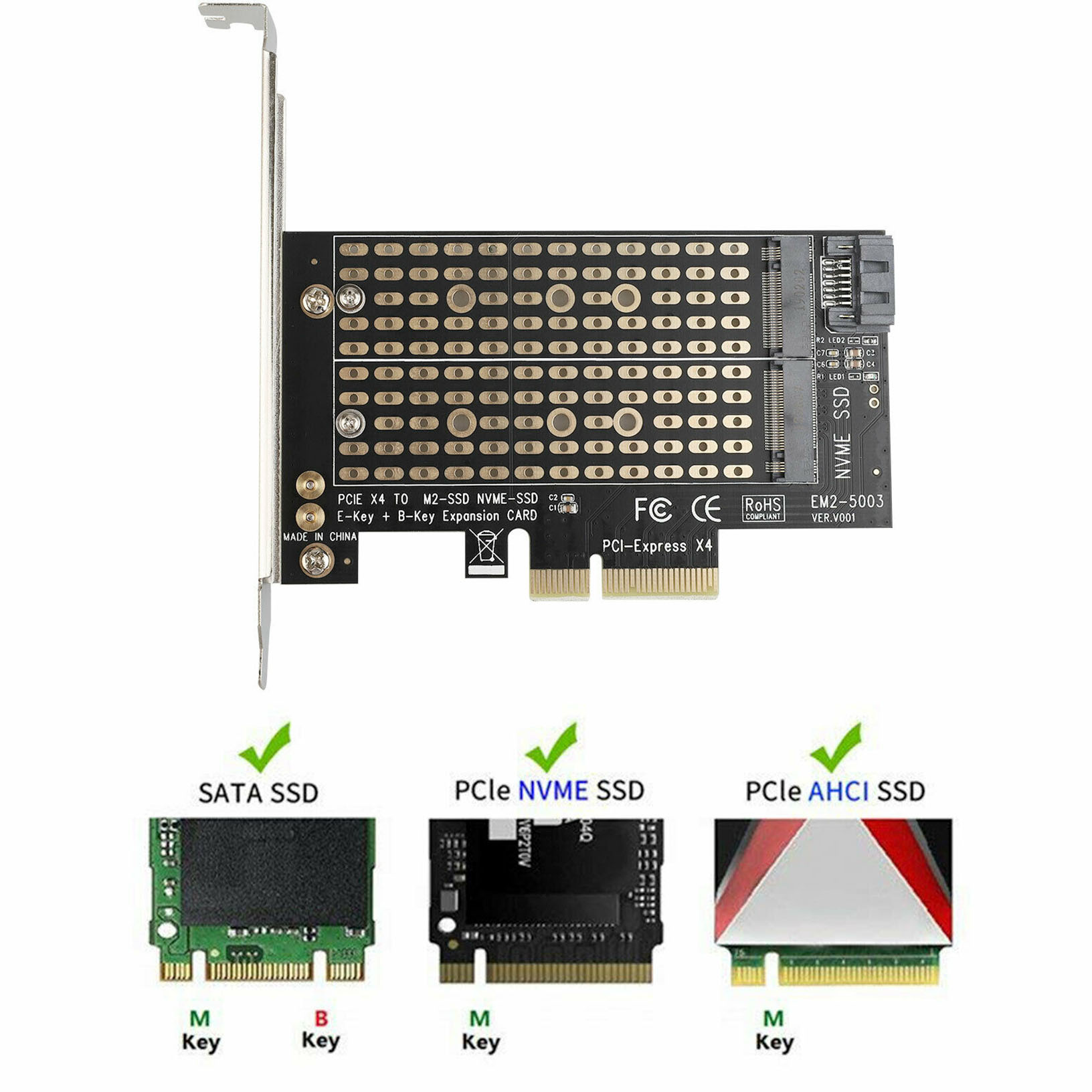 Occitop M.2 NVME//NGFF SSD to PCI Express X4 X8 X16 Adapter Converter Card
