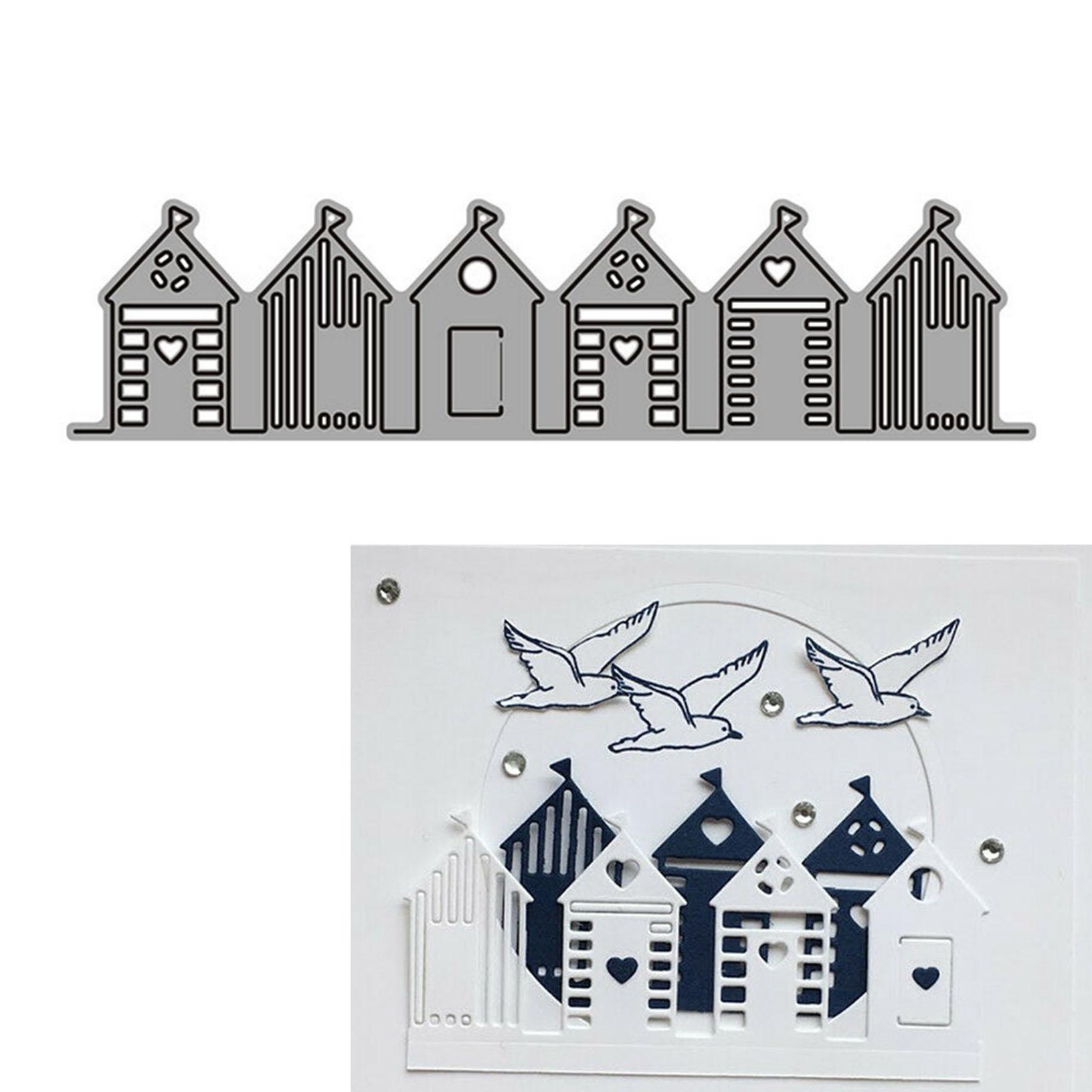 Beach Houses Edge Building Dies Metal Cutting Stencils Decorative Embossing DIY