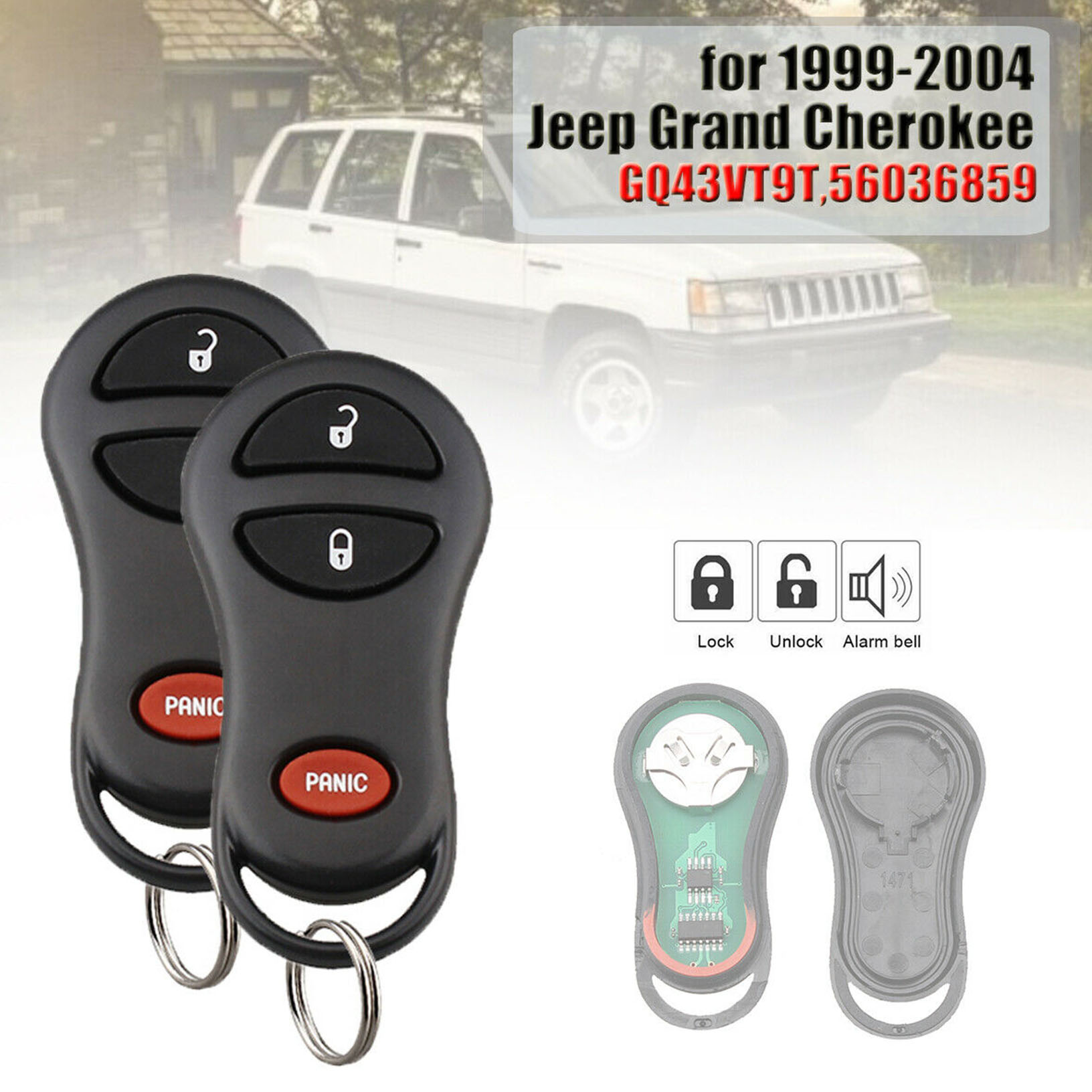 Replacement Keyless Car Remote Key Fob Remote for 1999-2004 Jeep GQ43VT9T-4 2