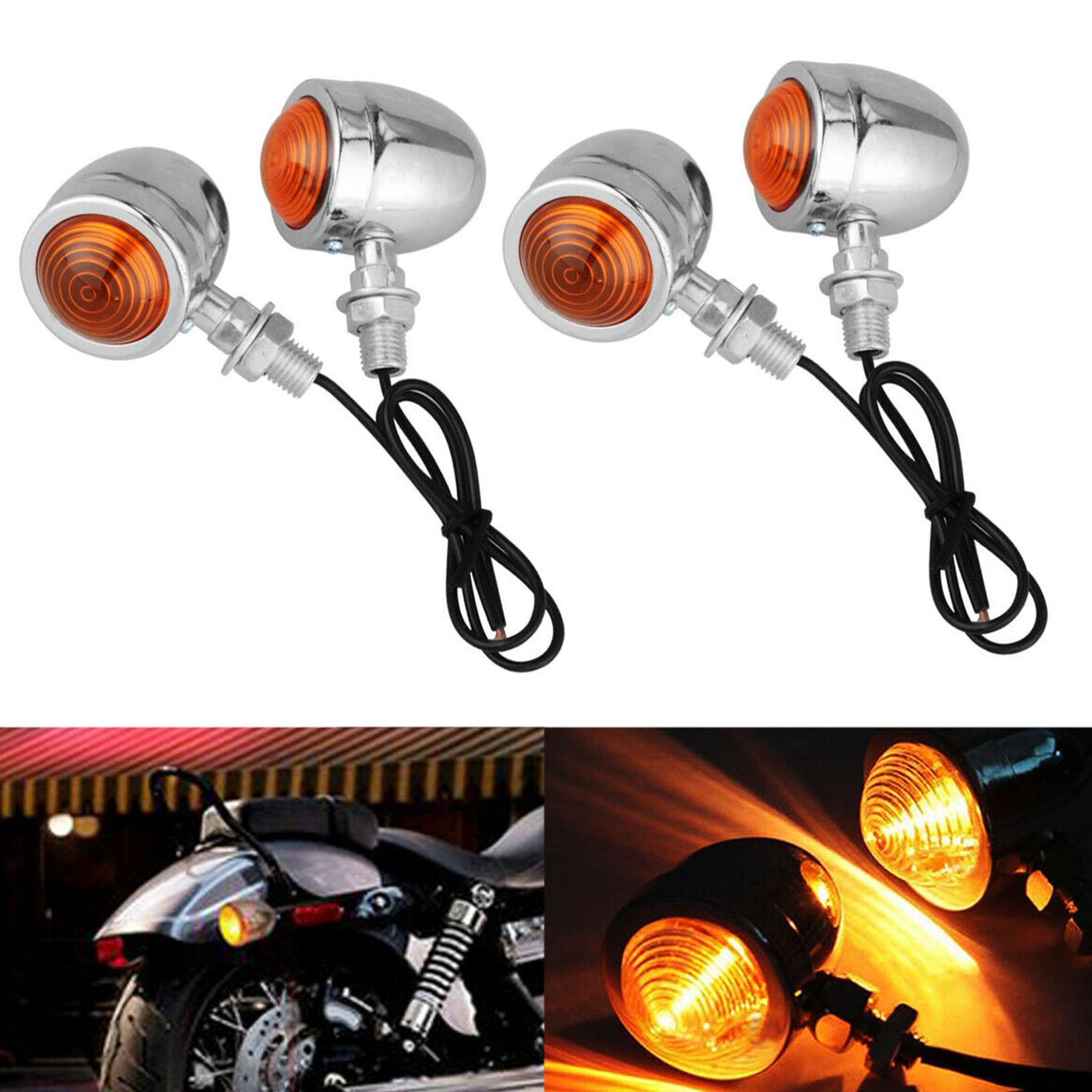 pour Harley 2 Pcs Moto Chrome Bullet Ampoule 12 V Clignotant Clignotant Ambre Lampe