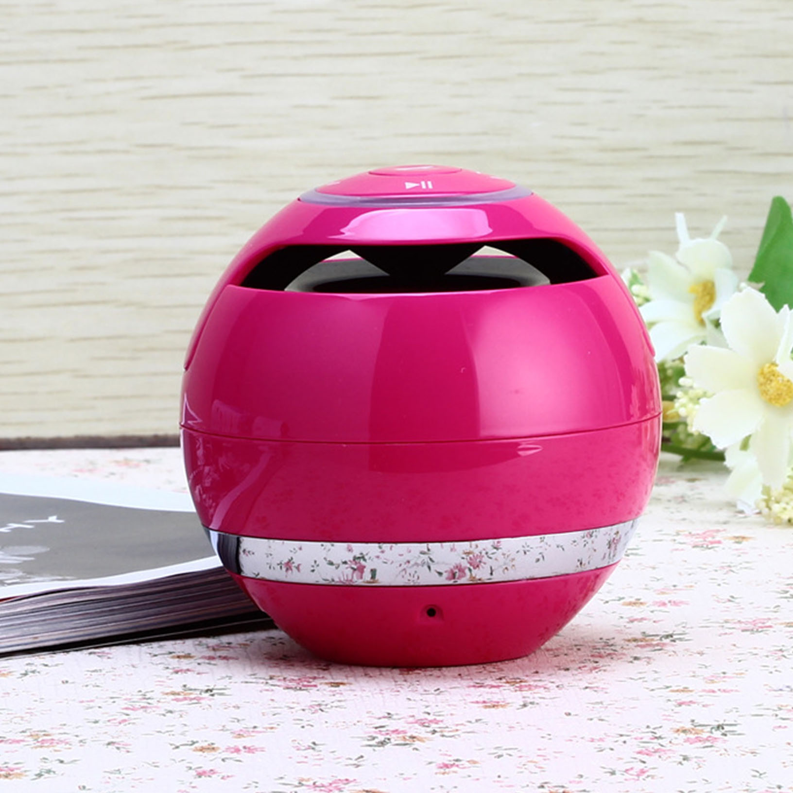 Wireless Bluetooth Speaker Subwoofer Mini Round Portable Speaker Magic Ball Rose