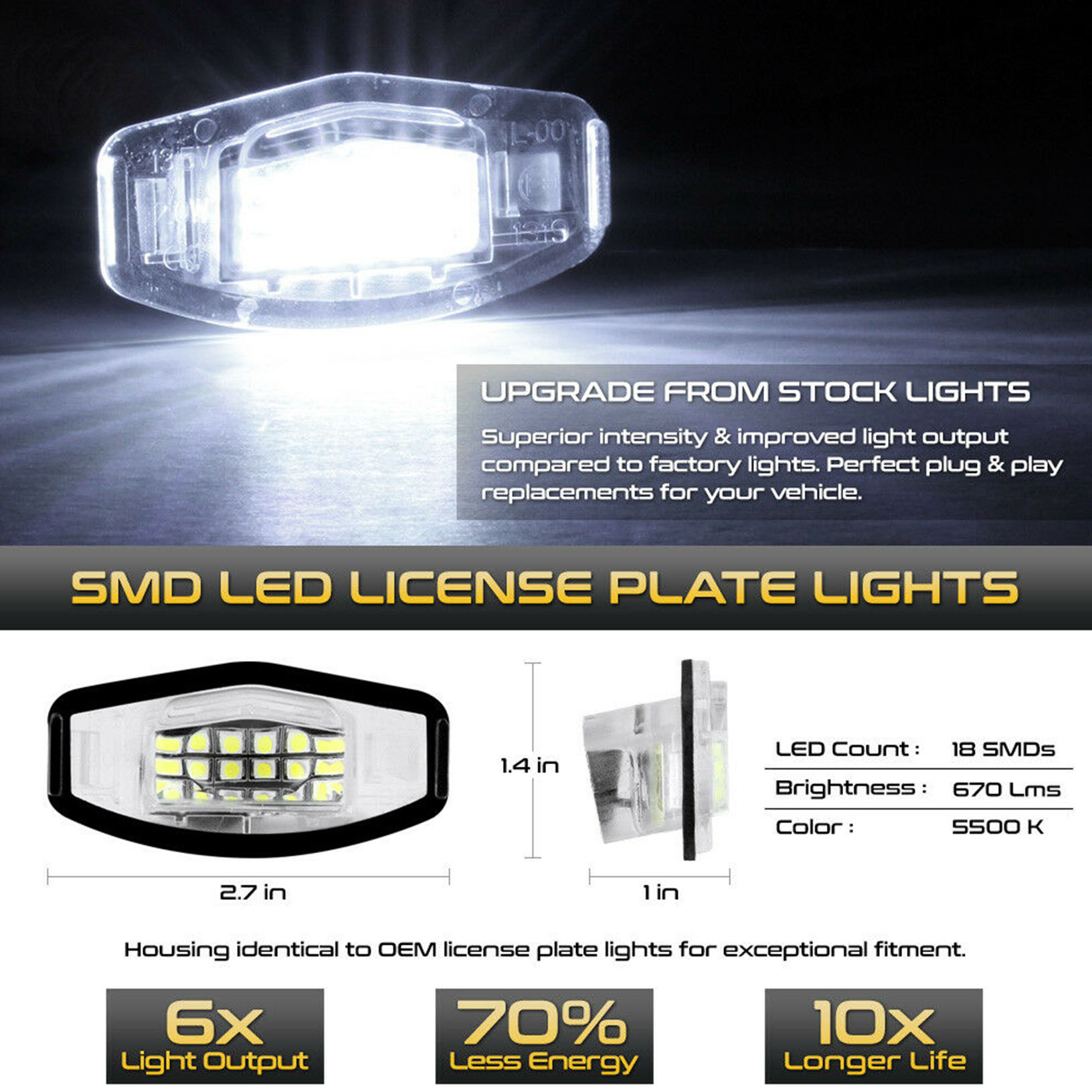 LED License Plate Light For Honda Accord Civic Acura TSX